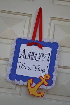 Ahoy!  It's a Boy!  Nautical baby boy themed shower - cute!