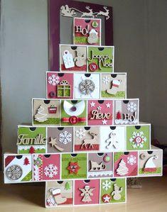 Calendrier de l avent en bois 24 boites remplir blanc et rouge rouge - Remplir calendrier de l avent garcon ...