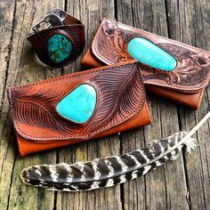 Etched leather wallets with turquoise stones. Buffalo Girl.