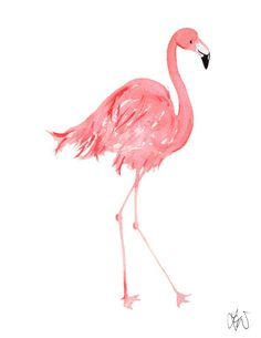 The Flamingle! Tropical Flamingo watercolor print www.thelonelydove.com www.thelonelydove.etsy.com
