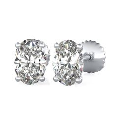 Four-Prong Stud Earrings with Oval Cut Diamonds by 90210Jewelry.com ❤