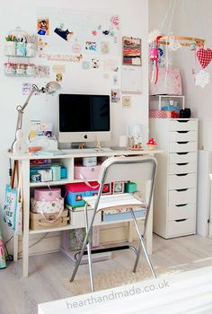 craft room desk and chair and tall alex drawers from ikea