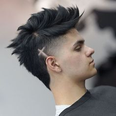 Best New Men's Hairstyles Spiky mohawk with a V-cut neck Mohawk Hairstyles Men, Haircuts For Men, Hairstyle Men, Style Hairstyle, Hair And Beard Styles, Short Hair Styles, Mens Hair Colour, Hair Color, Shaved Hair Designs