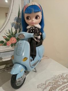 My gorgeous blythe doll on a scooter sooo cute....