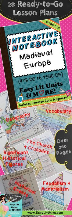 Ready to Teach COMMON CORE Interactive Student Notebook Lessons for Medieval Medieval Europe Grades 5-10. Over 28 lessons & 284 pages! Ideal way to enhance your world history curriculum! www.EasyLitUnits.com World History Classroom, Teaching History, Middle Ages History, Interactive Student Notebooks, 6th Grade Social Studies, World History Lessons, Teaching Activities, Teaching Ideas, Mystery Of History