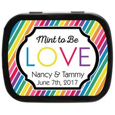 Rainbow Personalized Engagement Mint Tin Favors, a very cute engagement party idea! Affordable Wedding Favours, Wedding Favors Cheap, Unique Weddings, Lgbt Wedding, Wedding Music, Engagement Party Favors, Mint Tins, Cheap Favors, Wedding Expenses