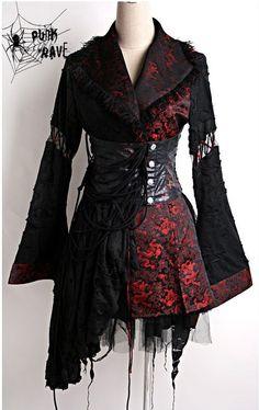 Black and Red gothic kimono dress