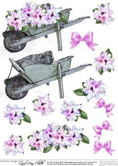 "Flower filled wheelbarrow 3D Decoupage sheet on Craftsuprint designed by Carol Clarke - 3D step by step decoupage which is sized to perfectly match my 8"" x 8"" Flower filled wheelbarrow Toppers. This design can be used on it's own or together with the matching Topper to make stunning cards and pictures.This design is great for female birthday cards but is also suitable for lots of occasions including Mothers Day cards, Wedding Cards, Engagement Cards, Anniversary card, Mothers Day card, ..."
