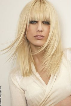 long blonde straight coloured Modern Layered Womens haircut poker-straight hairstyles for women