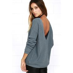 Just For You Slate Blue Backless Sweater (£29) ❤ liked on Polyvore featuring tops, sweaters, blue, loose tops, long sleeve sweater, loose sweaters, low back top and cut loose tops