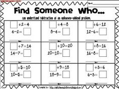 {Freebie}Find Someone Who...help students practice Common Core Math Skills in an engaging way! Doubles practice.  Relating addition and subtraction.  First grade math.