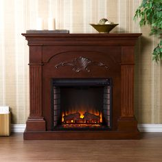 Harper Blvd Gilbert Mahogany Electric Fireplace | Overstock.com Shopping - The Best Deals on Indoor Fireplaces