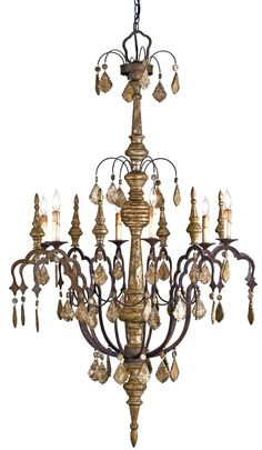 "Currey & Company | Graycliff chandlier | Lush finishes mixed with rough-hewn natural materials give this splendid piece an intriguing, timeworn feel. The Graycliff Chandelier features a Rust and Distressed Silver Leaf wrought iron construction with suspended wooden accents | 35""dia x 58""h 
