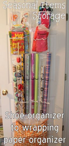 So doing this... Shoe organizer into gift wrap organizer.