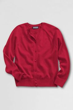 School Uniform Girls' Fine Gauge Cotton Cardigan Sweater - Red, S from Lands' End on Catalog Spree, my personal digital mall.