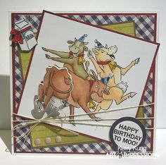 Art Impressions Rubber Stamps: 4797 – Mooove It Mini Shaker ...handmade birthday card with cows.
