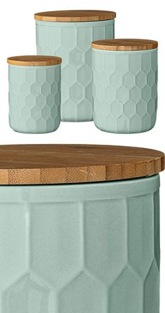 Introduce a beautiful pastel hue with designer appeal to your kitchen ensemble. As canisters or tabletop containers, this set of Huerta Jars with Lids pairs lovely, delicate mint green ceramic with an ...  Find the 3-Pc. Huerta Jars with Lids, as seen in the Rustic Country Living Collection at http://dotandbo.com/collections/rustic-country-living?utm_source=pinterest&utm_medium=organic&db_sku=118845