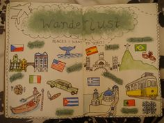 Wanderlust journal page, doodles