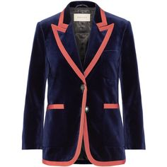 Gucci Grosgrain-trimmed velvet blazer ($2,600) ❤ liked on Polyvore featuring outerwear, jackets, blazers, navy, navy velvet jacket, navy velvet blazer, blue blazer, navy blue jacket and gucci