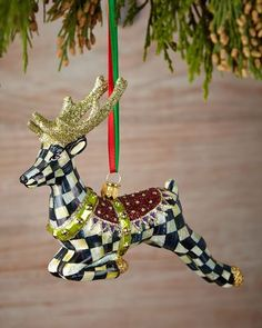 Shop Prancer Christmas Ornament from MacKenzie-Childs at Horchow, where you'll find new lower shipping on hundreds of home furnishings and gifts. Modern Christmas Ornaments, Christmas Moose, Country Christmas, Christmas Themes, Christmas Holidays, White Christmas, Christmas Balls, Mackenzie Childs Inspired, Mckenzie And Childs
