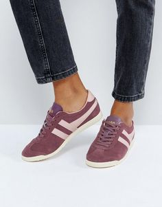Shop Gola Bullet Suede Sneakers In Red With Pink Detail at ASOS.