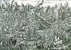 Sismo de Lisboa de 1755 – Wikipédia, a enciclopédia livre. - Gravura em cobre de 1755 mostrando Lisboa em chamas e o tsunami varrendo o porto.