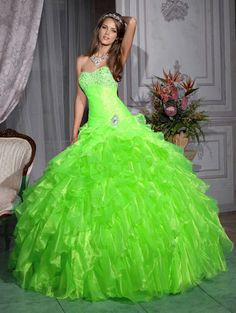 Greens Organza Layers Quinceanera Ball Gowns Wedding Pageant Formal Prom Dress #ShopSimple