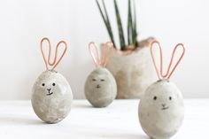 Concrete and copper Easter bunnies.