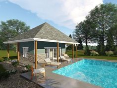 Pool House Plan with Wet Bar, Full Bath & Covered Patio Pool Deck Plans, Pool House Plans, Gazebo Plans, Barn Plans, Building A Garage, Building Plans, Building A House, Gazebo On Deck, Hot Tub Gazebo