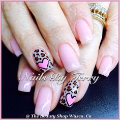 Pink heart and leopard background valentine nails