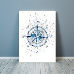 Compass Print Nautical Art Nautical Illustration by ShinoPrint