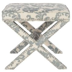 Shop for Safavieh Palmer X-bench Nailhead Slate/ Beige Ottoman and more for everyday discount prices at Overstock.com - Your Online Furniture Store!