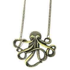 Octopus Necklace Nautical Ocean Sea Monster Fish Vintage Brass Charm Pendant Fashion Jewelry: Jewelry: Amazon.com