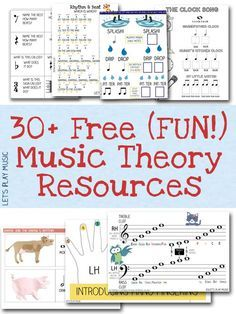 CHEQUEAR LUEGO A huge collection of fun free music theory resources and worksheets for preschoolers and primary school / kindergarten age. These would be perfect for homeschool too. Lets Play Music, Music For Kids, Fun Music, Music Activities For Kids, Music Games, Music Theory Games, Preschool Music Activities, Music Therapy Activities, Music Theory Lessons