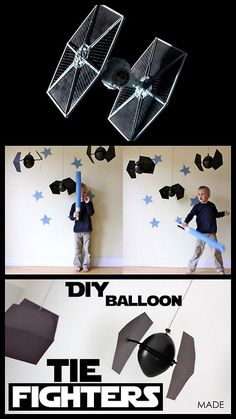 Diy star wars cardboard   DIY Star Wars TIE Fighter Balloon Tutorial from MADE here. For more ...
