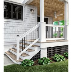The wooden pergola is a good solution to add beauty to your garden. If you are not ready to spend thousands of dollars for building a cozy pergola then you may devise new strategies of trying out something different so that you can re Front Porch Railings, Front Porch Steps, Porch Stairs, Small Front Porches, Front Porch Design, Side Porch, Decks And Porches, Deck Design, Porch Railing Designs