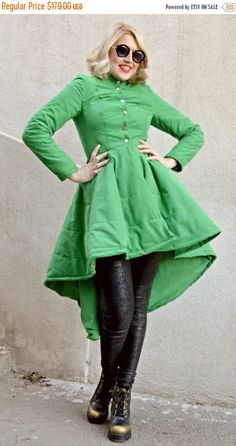 ON SALE 25% OFF Green Microfiber Cotton Jacket / Green Padded
