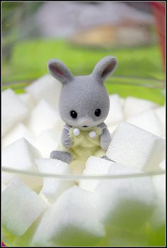 Sylvanian Families baby rabbit with sugar cubes