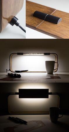 BENT // Curved Wood Desk Lamp on Behance