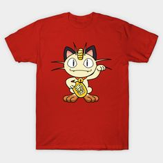 Meowth from Nintendo's Pokemon Go as a lucky cat (maneki neko) – buy this perfect mash-up for your favorite anime geek, video gamer, or fan of Japanese tradition (even if it's you)