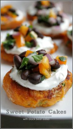 Sweet Potato Cakes with Black Bean Salsa - A Dash of Sanity