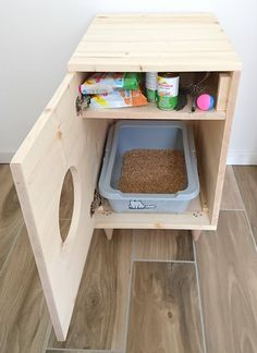 Cat Litter Box Cover Pet Furniture Cat House Modern Litter Box Cabinet made of spruce wood Katze Wurf Box Cover Haustier Möbel Katzenhaus moderne Wurf Cat Toilet Training, Litter Box Covers, Wood Cat, Pet Furniture, Furniture Storage, Modern Cat Furniture, Handmade Furniture, Furniture Ideas, Furniture Dolly