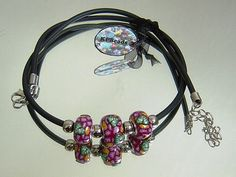 Pink flower pandora style bead necklace