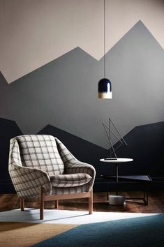Man Cave Decorations Mountain Wall Paint Popular Bedroom Paint Colors that Give You Positive Vibes Bedroom Wall, Bedroom Decor, Bedroom Murals, Geometric Wall Paint, Wall Paint Patterns, Painting Patterns, Room Wall Painting, Wall Art, Diy Wall