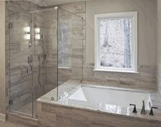 Unbelievable Useful Ideas: Tub To Stand Up Shower Remodel walk in shower remodeling no door.Shower Remodeling Grey tub to shower remodel half walls.Tub To Shower Remodel Half Walls. Bathroom Tub Shower, Steam Showers Bathroom, Bathroom Flooring, Bathroom Ideas, Bathroom Organization, Bathroom Storage, Bathroom Cabinets, Bathroom Mirrors, Bathroom Styling