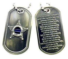Law Enforcement Dog Tags | Thin Blue Line Deputy Sheriff's Prayer Brushed Steel Dog Tag