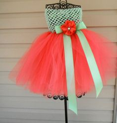 Enchantment Tutu Dress Coral and Mint Dress All Sizes This Listing weddings photo ops pageants plays dress up and more on Etsy, $69.00
