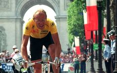 When he was young and carefree: Laurent Fignon, the rider nicknamed 'the Professor', failed his final examination at the 1989 Tour after the Frenchman refused to use aero-bars and an aero helmet while LeMond opted to and went on to win the final day time-trial by 58 seconds. Not only did the American only win the stage but he also took the yellow jersey off Fignon to win the Tour by eight seconds - the narrowest ever margin by which a Tour has been won.