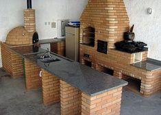churrasqueiras modernas - Pesquisa Google Kitchen Grill, Backyard Kitchen, Summer Kitchen, Outdoor Kitchen Design, Patio Design, Backyard Patio, House Design, Outdoor Cooking Area, Pizza Oven Outdoor