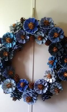 Hey, I found this really awesome Etsy listing at https://www.etsy.com/listing/505478959/blue-pine-cone-wreathblue-wreathpine